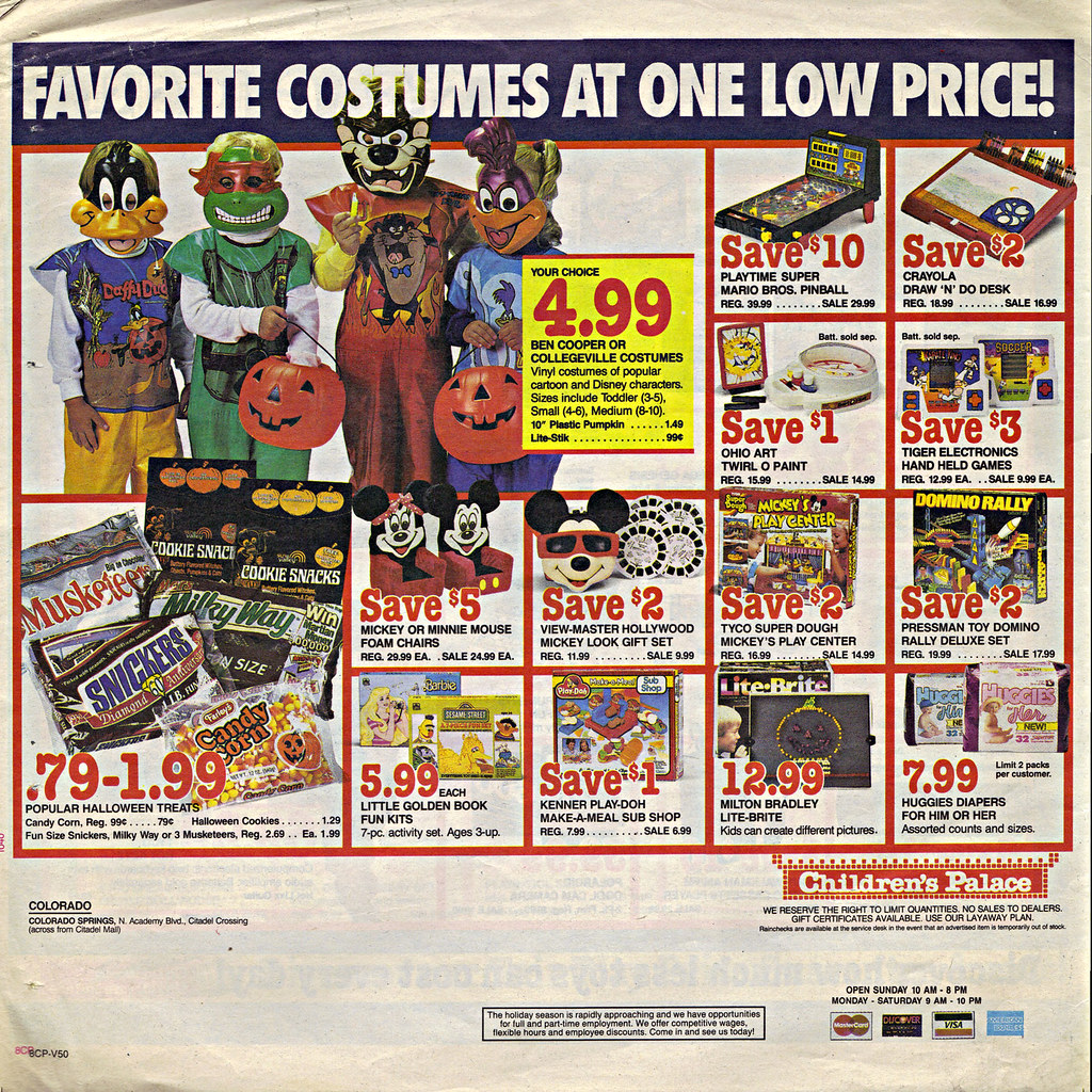 """Children's Palace - """"GRAND OPENING, All Stores Celebrate"""" { Colorado Springs C.P. }  Sunday Newspaper supplement .. pg.8 (( October 28,1990 )) by tOkKa"""