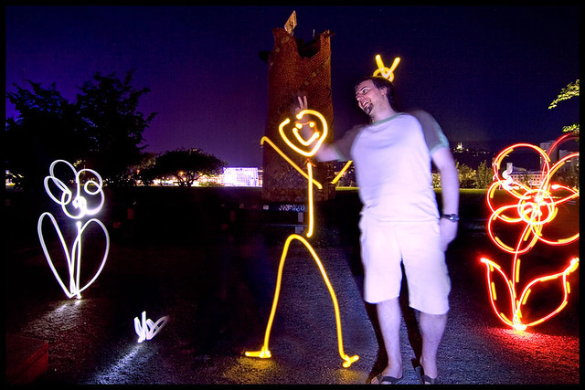 light painting smile fingers