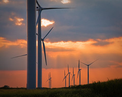 prairie, machine, cloud, windmill, evening, wind, wind farm, electricity, wind turbine, sky, dusk, sunset, afterglow,