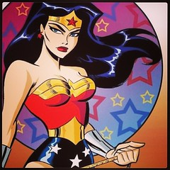 Singing the Wonder Woman theme, today at www.LongboxGraveyard.com. Art by Bruce Timm. #comicbooks