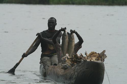 Fishing in Sudd wetland