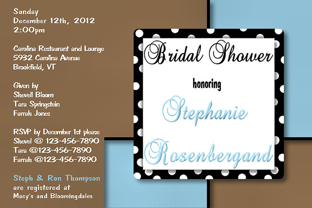 C8 brown blue squares dots Baby Shower Bridal Wedding Birthday Invitation