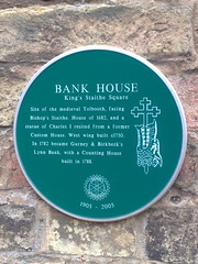Photo of Bank House, King's Lynn green plaque