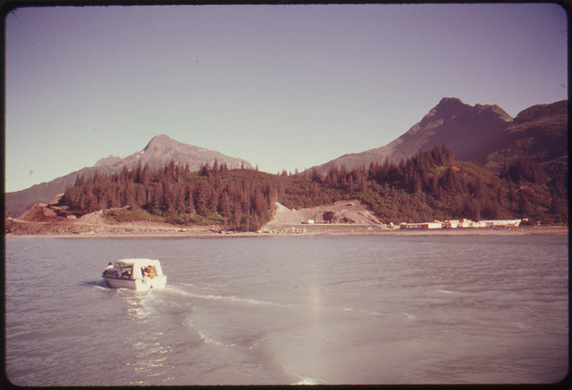 DOCUMERICA: The Terminal Area Is a Favorite Salt Water Salmon Fishing Area. Fresh Water Streams Around Port Valdez Are Closed to Fishing to Protect Spawning Areas. This View Looks South Toward the Site of the Terminal Construction Camp. Mile 789, Alaska Pipeline Route 08/1974 by Dennis Cowals.