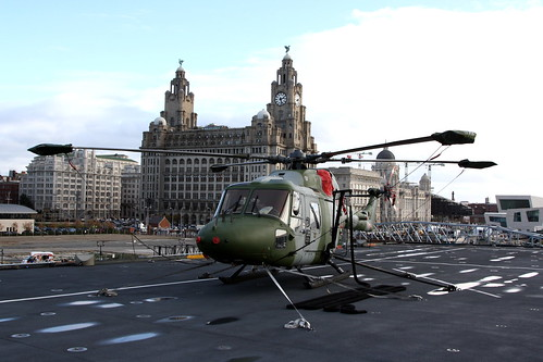On board HMS ILLUSTRIOUS, Royal Liver insurance company building in background