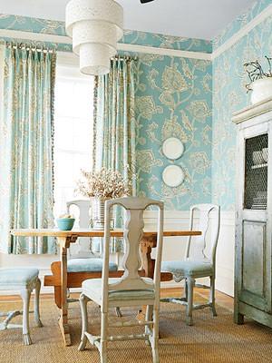 Modern wallpaper: Blue + white dining room + botanical print + modern cottage style