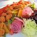 Skeena sockeye with baby beets, jade relish, beet chips, vegetable powder at North Arm Farm