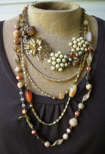 Vintage earrings and brooch necklace with chains
