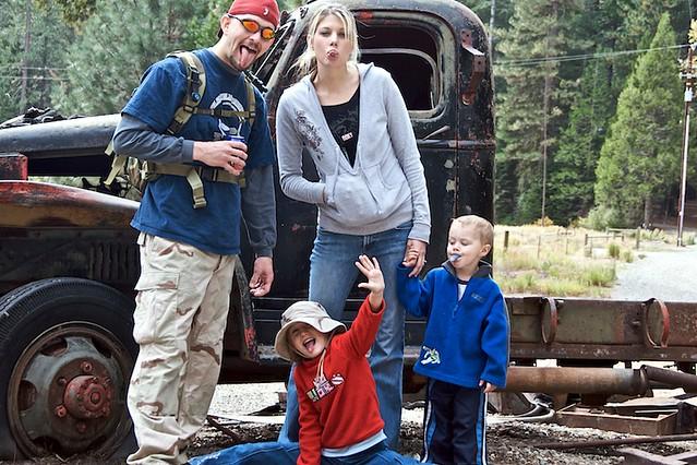 Dustin, Amanda, Aubrey, Kyler with Old Truck