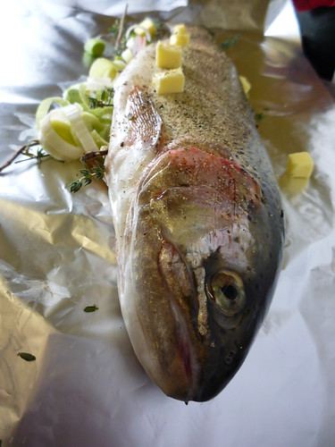 Freshly caught trout girl interrupted eating for Cooking fish in foil