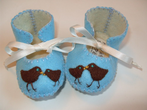 Light Blue and Cream Baby Booties with Chick Motifs