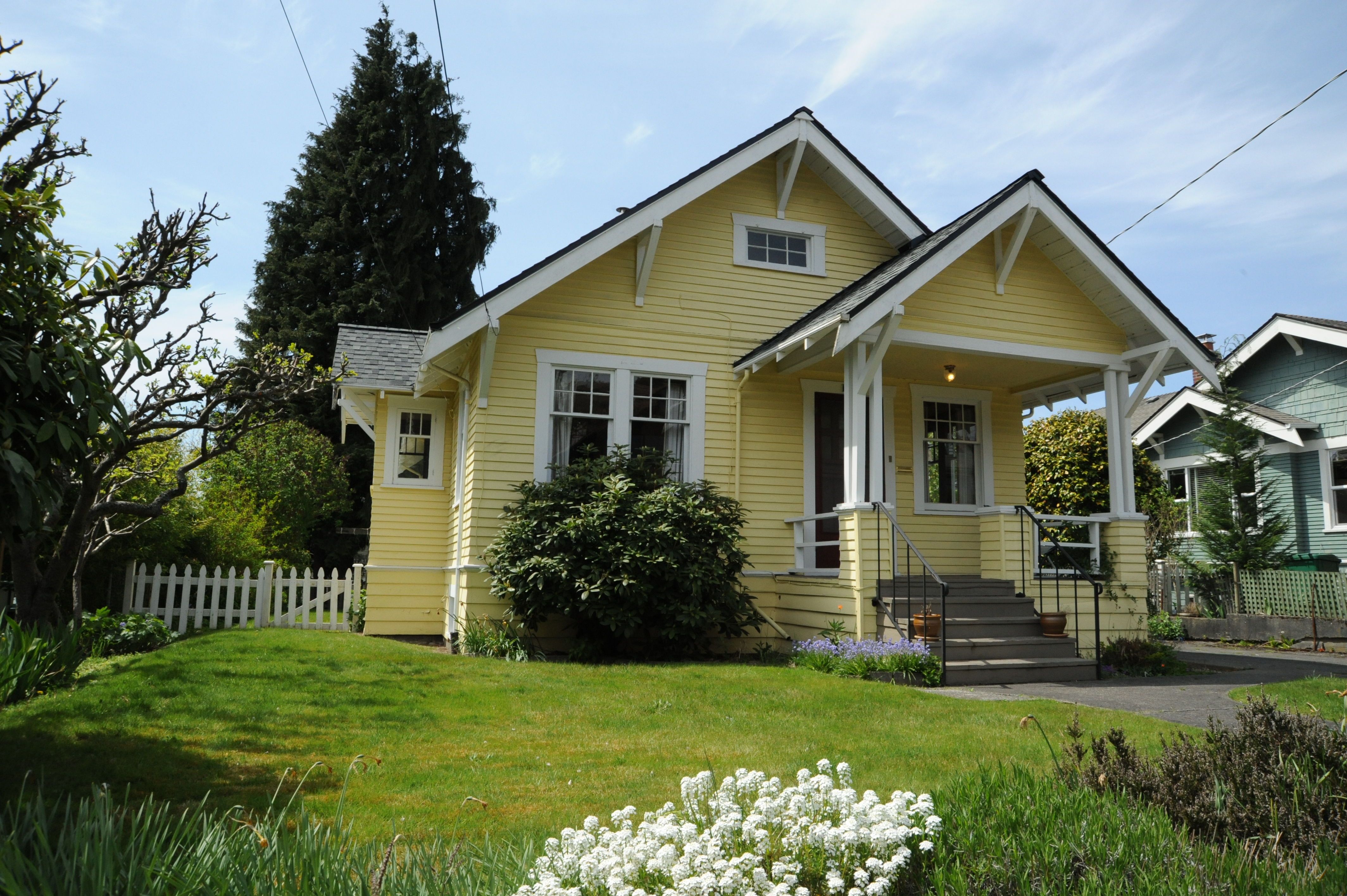 Yellow House with White Trim