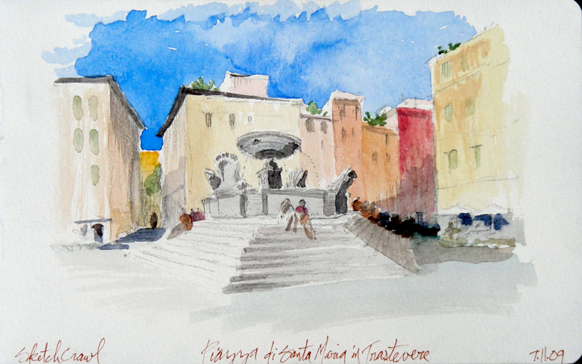 Piazza di Santa Maria in Trastevere à Rome dessiné par Matthew Brehm