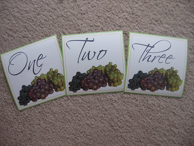 Sage Green Purple Grapes Wedding Table Numbers