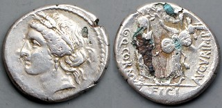 509/5 Cornuficia Denarius Q.CORNVFICI AVGVR IMP. head Ceres or Tanit, Cornuficius crowned by Juno Sospita. Utica 42BC. AM#09158-42