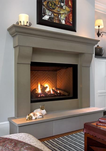 Cornice linen cast concrete fireplace mantel a photo on for Concrete mantels and hearths