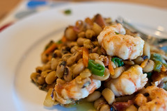Garlic Spot Prawns and Black-Eyed Peas