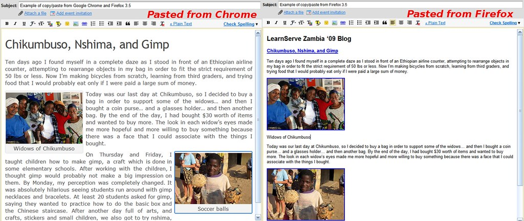 Chrome/Firefox differences in copy/paste | On the left is te