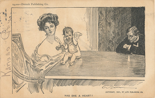 Gibson Girl humor card - Has She A Heart?, 1906