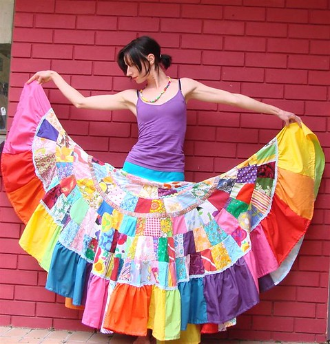Fairytale rainbow goddess Patchwork Maxi Skirt