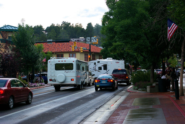 Bigfoot Travel Trailer and Wildcat Fifthwheel on E. Elkhorn Ave in Estes Park, Colorado, September 4, 2009