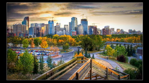 sunset canada calgary skyline evening october downtown fallcolors alberta hdr lightroom nikond90