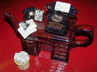 Mystery Writer's Desk Teapot