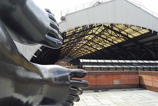 Feet of Broadgate Venus and Liverpool Street station.