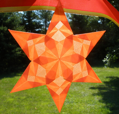 Paper Ribbon 21 Photos | Close up of Orange Star - Part of Halloween Garland | 4