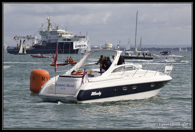 Windy 40 Bora motor yacht being used during Cowes Week 2009 as a race ...
