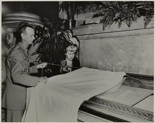 General Jonathan Wainwright and Mrs. Wainwright Unveiling Japanese Surrender Documents, September 12, 1945