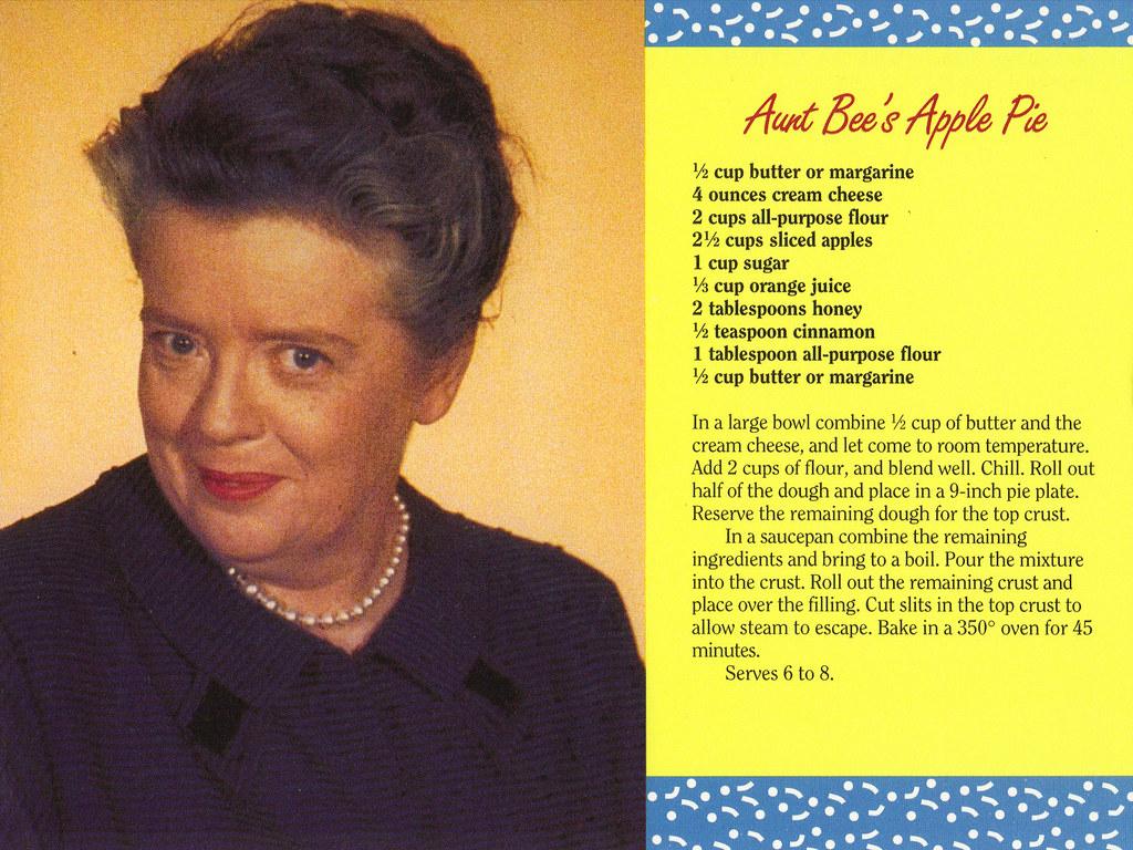Mayberry Aunt Bee's Apple Pie Recipe Postcard