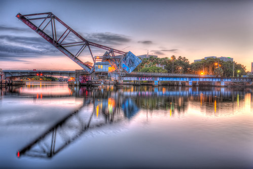 reflection sunrise tampa dawn graffiti florida drawbridge hdr hillsboroughriver photomatix cassstreetbridge