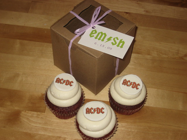 ACDC Wedding Cupcake Favors Red Velvet Cupcakes with ACDC Logo and Vanilla