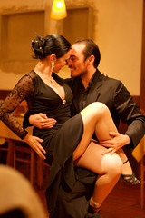 Tango dancers at a restaurant in Buenos Aires