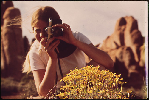 Photography in Arches National Park, in the Heart of the Redrock Country of Southeastern Utah. To the South Is the Colorado River and the Picturesque Old Mormon Pioneer Town of Moab, 05/1972