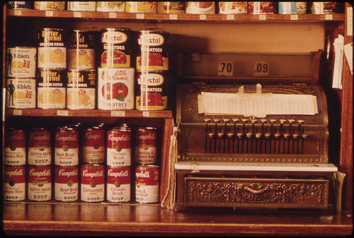 Old Style Cash Register and Canned Goods in a Butcher Shop in New Ulm, Minnesota ..., 10/1974