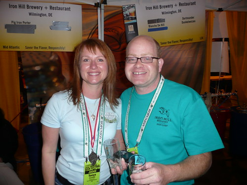 Tonya Cornett, from Bend Brewing, with Larry Horwitz from Iron Hill