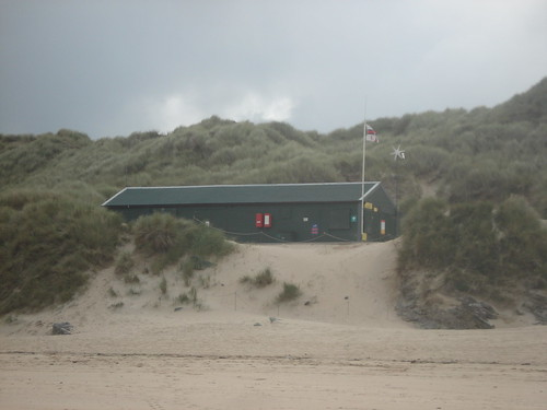 RNLI hq on crantock beach