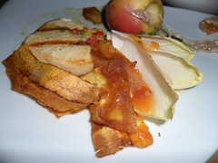 Grilled Filet of Escolar with Baked Stuffed Southern Rose Apple, Papaya Puree, Endive and Spicy Dressing by pchow98