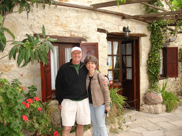 Tom and Joyce in front of their lodgings.