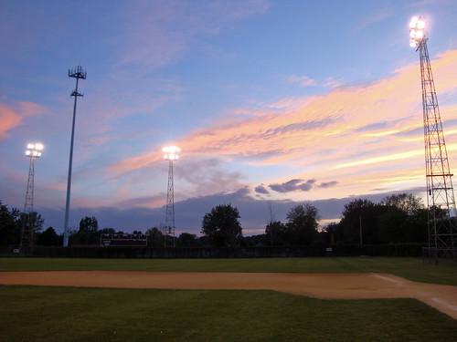 park wood sunset game cold field minnesota night ball lights town spring colorful sundown baseball bat right amateur mn springers