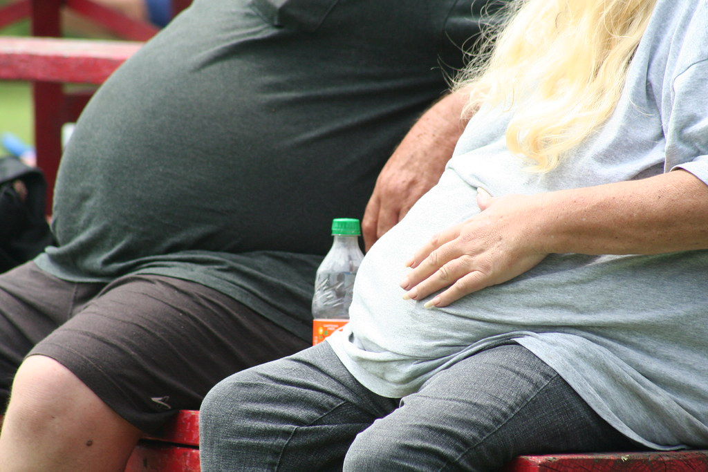 overweight people sitting on park bench
