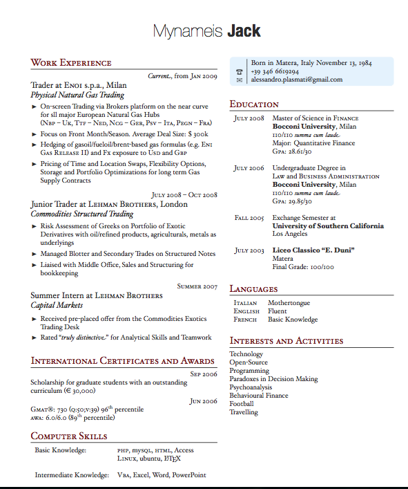 advanced two column latex cv template layout - Latex Resume Template
