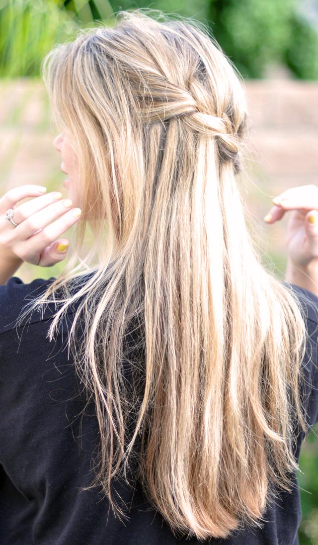 French braid w cascading hair tutorial diy waterfall braid love maegan - Tresse en cascade ...