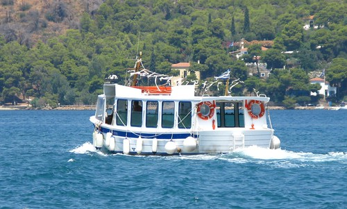 A boat out at sea in the Saronic area