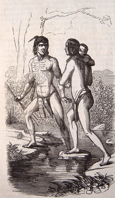 Indios huyendo de los españoles a los bosques