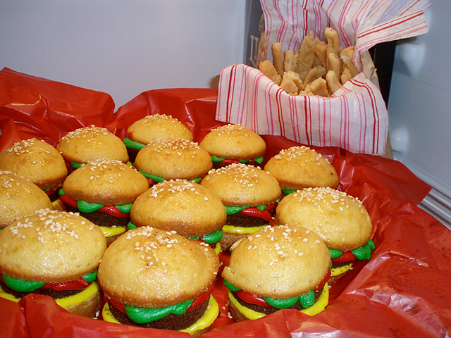 Hamburger+Cupcakes+and+Fries+Recipe Hamburger Cupcakes & Sugar Cookie ...