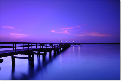 ocean longexposure pink blue sunset sea evening bay coast pier twilight dock nikon texas dusk smooth filter bluehour 12mm vignette portaransas nightfall d300 leefilterholder charliespasturefishingpier