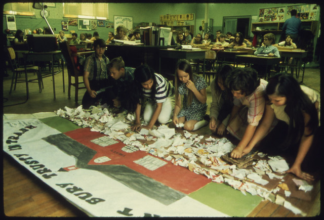 School Children Making Signs in Ecology Awareness Class, by Jim Olive for Documerica. Fort Smith, AR. May, 1972.